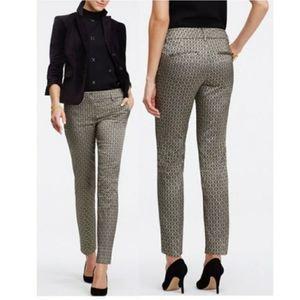Ann Taylor Black & Gold Jacquard Ankle Dress Pants